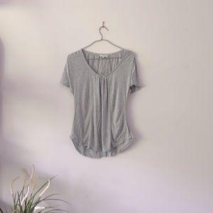 Aritzia grey Tshirt with ruffles size XS